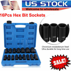 16x 1 2 Drive Air Impact Deep Socket Set Sae 1 2in Dr Impact Wrench Sockets Us