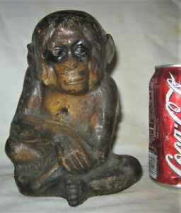 Xxx Rare Antique Usa Cast Iron Monkey Art Statue Sculpture Hubley Doorstop Us