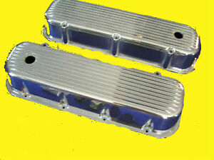 Bbc Big Block Chevy Polished Aluminum Valve Covers Tall Finned 396 454 496 502