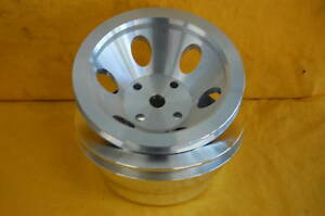 Aluminum Pulleys Sbc Sb Chevy 283 350 Lwp Single Groove Pulley Long Water Pump