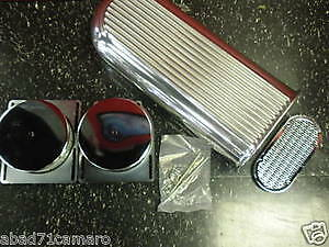 Finned Aluminum Single Scoop Dual Carb Bug Catcher Fits Ford Chevy Sbc Bbc