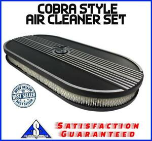 21 Finned Aluminum Oval Cobra Style Single Carb Air Cleaner Fits Ford Chevy