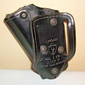 Safariland Open Top Competition  Black Leather RH Duty Holster For Glock 17-EUC