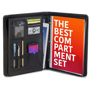Black Portfolio Folder Padfolio Resume Business Organizer Zppered Binder