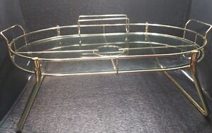 Brass Glass Vintag Tea Mid Century Modern Drink Serving Tray Caddy Condiment 25