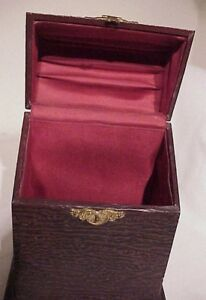 Antique Victorian Celluloid Covered Wood Satin Lined Letter Document Box