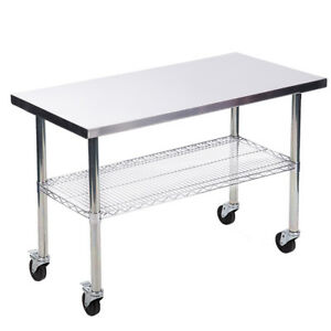 24 x48 Stainless Steel Kitchen Work Table W Wire Lower Shelf And Wheels 24w