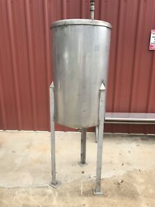 55 Gallon Stainless Steel Cone Bottom Open Top Mix Tank