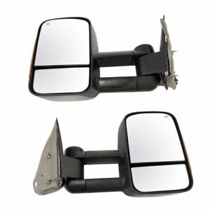 Towing Mirror Power Heated Turn Signal Textured Black Pair For 03 06 Gm Pickup