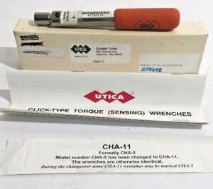Utica Cha 11 Re settable Fixed Click Type Torque Wrench Cha 5 W box Instructions
