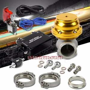 Black Dual Stage Electronic Turbo Charger Boost Control gold External Wastegate