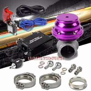 Blk Adjustable Electronic Turbo Charger Boost Control purple 44mm Ext Wastegate