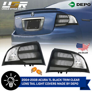 Depo Black Clear Tail Light Frames Covers For 04 05 06 07 08 Acura Tl Type S