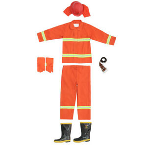Adult Size Firefighter Costume For Halloween Party With Gloves Boots Helmet