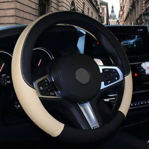 Pu Leather Car Steering Wheel Cover Anti Slip Protector Fit 38cm Black Beige New