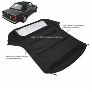 Bmw 3 series E30 Convertible Soft Top Plastic Window 1986 1993 Black Twill
