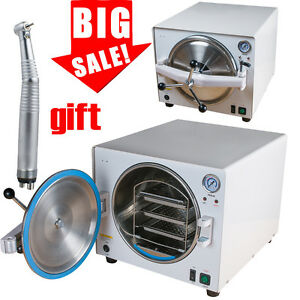 18l 900w Medical Dental Lab Autoclave Steam Sterilizer Equipment gift Handpiece