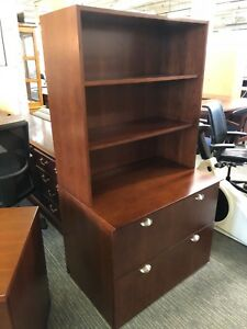 2dr Lateral File Cabinet W hutch By Kimball Office In Cherry Finsh Wood Veneer