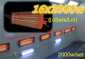 16 Sets 2kw Spray Baking Booth Infrared Paint Curing Lamp Heating Light Heater