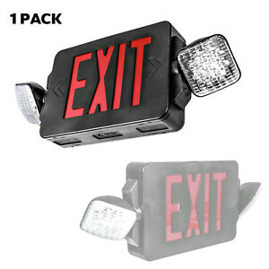 Led Exit Sign Emergency Light Red Sign Black Body Compact Combo Lighting Ul