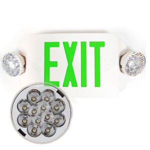 6pcs Led Exit Sign Emergency Light Green Compact Combo Lighting Ul924 El2bg6