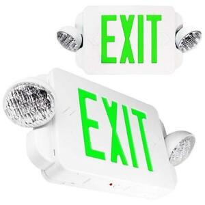 2 Packs Of Led Green Exit Sign Emergency Light Combo With Battery Back up