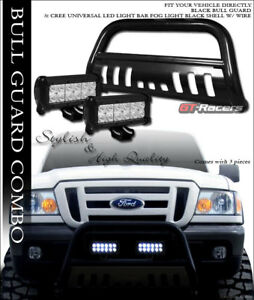 Black Hd Bull Bar Bumper Grille Guard 36w Cree Led Fog Lights 98 11 Ford Ranger