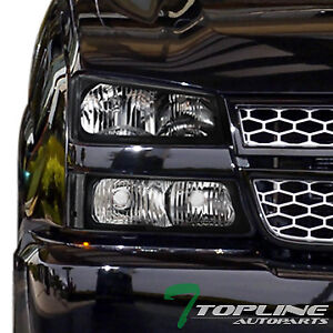 Topline For 2003 2007 Chevy Silverado Black Housing Headlights Signal Bumper Nb