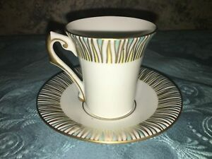 Hand Painted Made In Italy Fine China Demitasse Tea Cup Art Deco Gold Turquoise