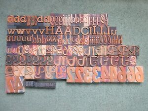 Lot Of 133 Letterpress Wood Type Print Printers Blocks Alphabet Numbers Metal