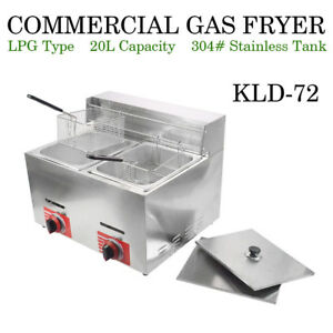 Top Commercial Countertop Gas Fryer 2 Basket Gf 72 Propane lpg W Metal Tube