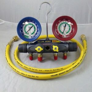 Yellow Jacket 46022 Brute Ii Test And Charging Manifold F c Red blue Gauge