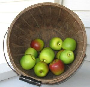 Antique Early Staved Wood Country Farm Apple Basket Chesapeake Bay Area Md Find