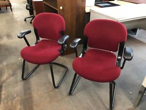 Guest Side Lobby Chair By Herman Miller Equa W Arms In Red Fabric