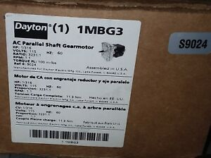 Dayton Model 1mbg3 Gear Motor 1 Rpm 1 316 Hp 115v New