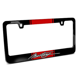 Ford Mustang Script Red Racing Stripe Black Metal License Plate Frame