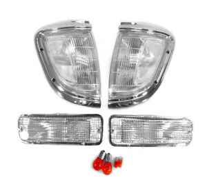 Depo Chrome Clear Corner Bumper Signal Lights For 1995 1996 Toyota Tacoma 2wd