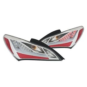 For Hyundai Genesis Coupe 2010 2013 Anzo Chrome Fiber Optic Led Tail Lights