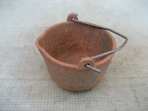 VINTAGE COSPER #6 CAST IRON LEAD MELTING POT OLD  RUSTY USED FISHING TOOL 512V
