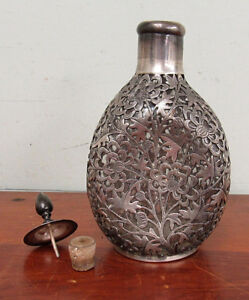 Antique Chinese Export Sterling Silver Overlay Pinch Bottle Decanter