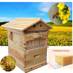 7pcs Upgraded Auto Honey Hive Beehive Frames Kit beekeeping Wooden House Up