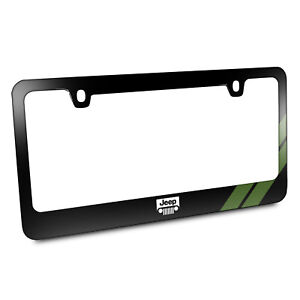 Jeep Grill Green Stripe Black Metal License Plate Frame