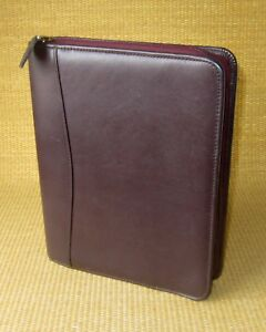 Classic 1 125 Rings Burgundy Leather Franklin Covey Zip Planner binder