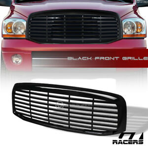 For 2006 2009 Dodge Ram Glossy Black Horizontal Front Hood Bumper Grille Guard