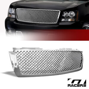 For 2007 2014 Avalanche Tahoe Suburban Chrome Mesh Front Bumper Grille Guard 1p