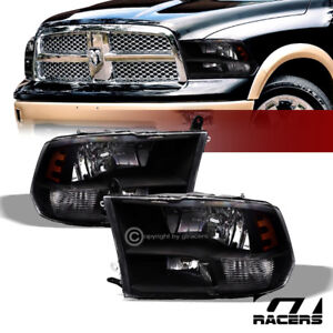 Quad Lamps For 2009 2019 Dodge Ram Factory Style Black Headlights Amber Pair Nb