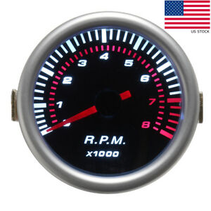 Car Auto 2 52mm Digital White Red Led Electronic Tachometer Tacho Gauge Meter
