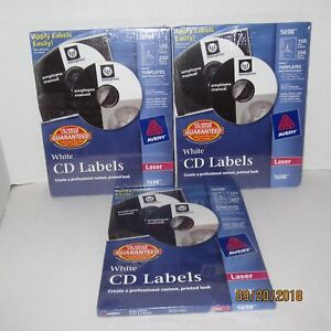 New 3 Packs Of Avery Laser White Cd Labels 5698 300 Disc Labels 600 Spine Labels