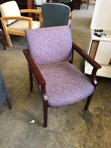 Lobby Guest Side Chair By Ofs Office Furniture W Mahogany Wood Arms