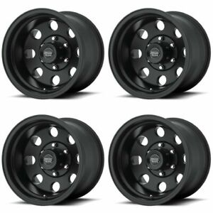Set 4 16 American Racing Ar172 Baja Black Wheels 16x8 6x5 5 0mm Chevy Gmc 6 Lug